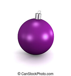 Purple Christmas ball - 3d image of purple Christmas ball...