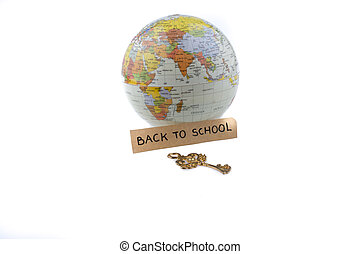 key and back to school title by the globe on white...