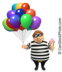 Thief with Balloon and Icecream