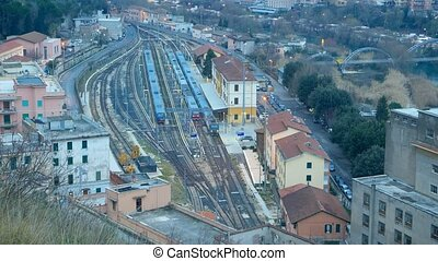 Departure of the train station in Rome from Tivoli. Italy....