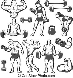 Vintage Body Building Icon Set - Black isolated vintage body...