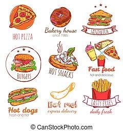 Fast Food Badges Set
