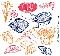 China Food Sketch Set - Chinese oriental cuisine elements...