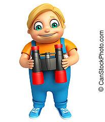 kid boy with Binoculars