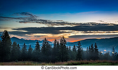 Stunning Sunset in Tatra mountains view from Zakopane