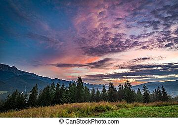 Beautiful Sunset in Tatra mountains view from Zakopane