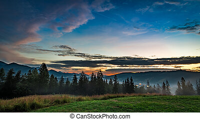 Beautiful Tatra mountains at dusk view from Zakopane
