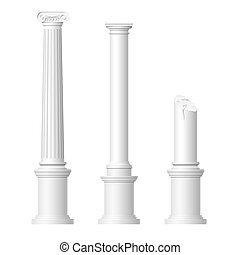 Realistic antique columns isolated on white background...