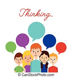 cartoon people icon - cartoon people standing with thinking...