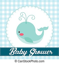 baby shower card with cute blue whale icon. colorful design....