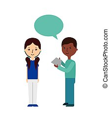 cartoon people icon - cartoon people standing with speech...