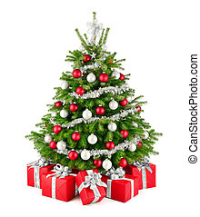 Christmas tree and gifts, in red, white and silver