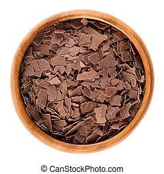 de madera, encima, tazón,  chocolate, rallado, blanco, leche