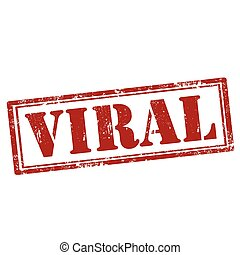Viral-red stamp - Grunge rubber stamp with text Viral,vector...