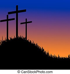 Three crosses on a hill vector
