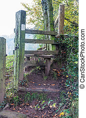Wooden Stile - Old Wooden Stile, - stiles are common to...