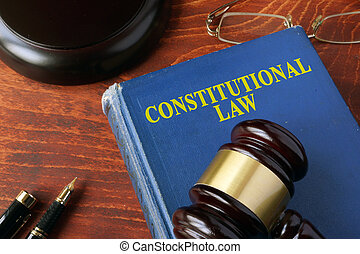 Title constitutional law on a book and a gavel.
