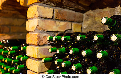 Many bottles in wine cellar
