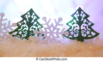 Wooden Toy Christmas trees and Snow Angels and snowflakes