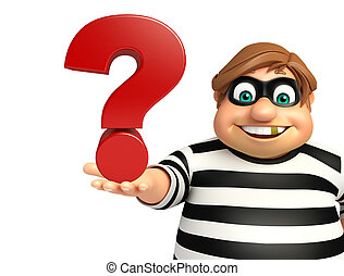 illustration of cartoon thief with - 3d rendered...