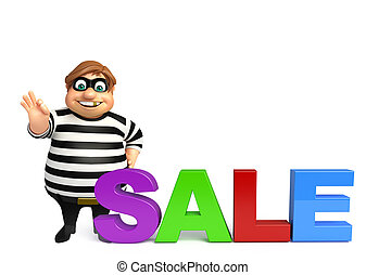 illustration of cartoon thief with sale sign - 3d rendered...