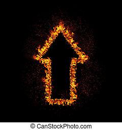 Fire Arrow - Flaming arrow grow up isolated on black...