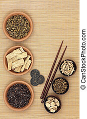Herbal Medicine with I Ching Coins - Traditional chinese...