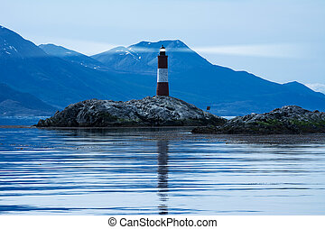 Lighthouse in beagle channel in the night