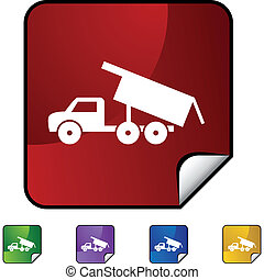 Dump Truck web button isolated on a background
