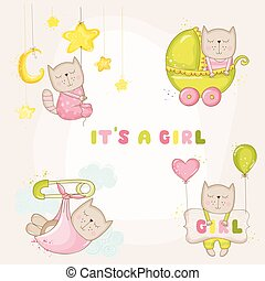 Baby Girl Cat Set - for Baby Shower or Baby Arrival Cards - in vector