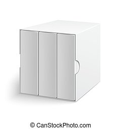 White gray box cover with group of blank books