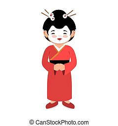 lovely girl red kimono japanese icon graphic