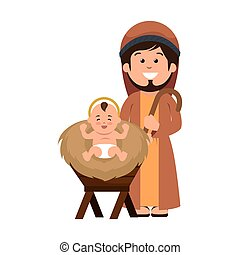 saint joseph manger character vector illustration design