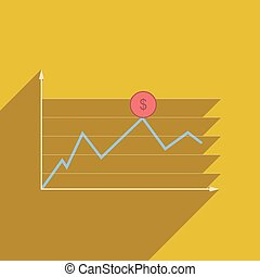 Flat web icon with long shadow financial infographics