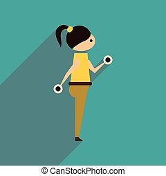 Flat web icon with long shadow girl dumbbell
