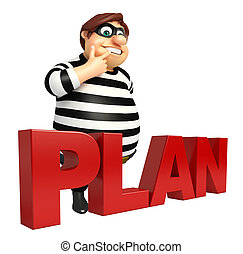 Thief with Plan sign