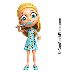 kid girl with Tooth brush and paste