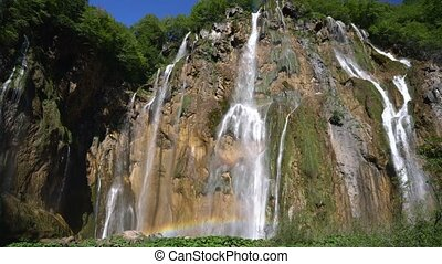 the magnificent Veliki Slap waterfall in Plitvice National...