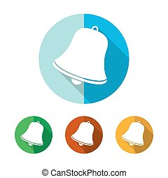 Set of colored handbell icons. Vector illustration. - Set of...