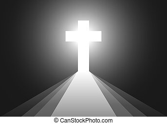 Black background with Cross and rays - vector illustration....