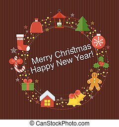 wine christmass card - Christmas decoration with a wreath of...