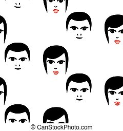 Woman and man faces hipster vector seamless pattern. Retro...