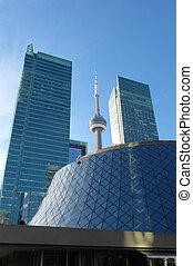 Roy Thomson hall and CN tower. - Downtown Toronto with the...