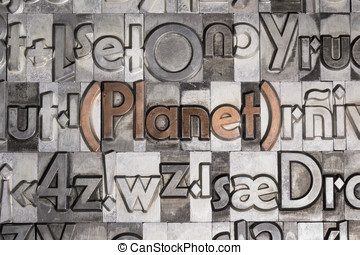 Planet created with movable type printing