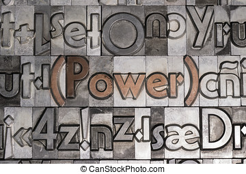 Power created with movable type printing