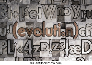 Evolution created with movable type printing