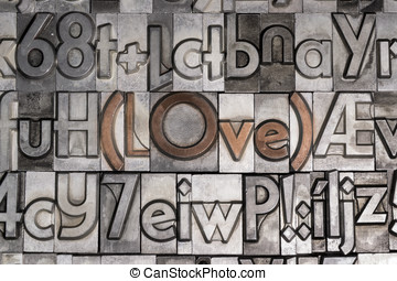 Love created with movable type printing