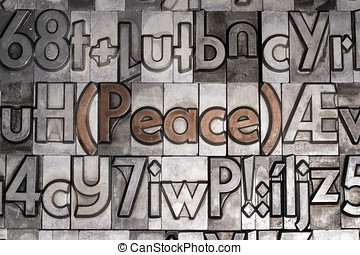 Peace created with movable type printing