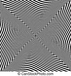 Abstract op art design. Torsion movement effect. Vector...