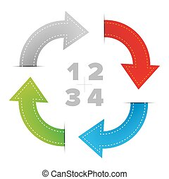 One two three four steps diagram with arrows